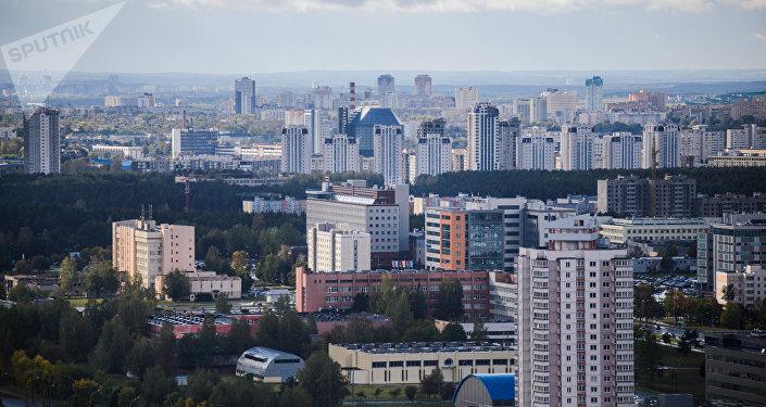 Степянка на фоне микрорайона Маяк Минска и Национальной библиотеки