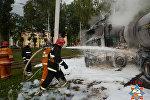 В Новополоцке спасатели ликвидировали загорание попавшего в ДТП грузовика