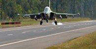 Посадка Як-130 на трассу Минск-Могилев
