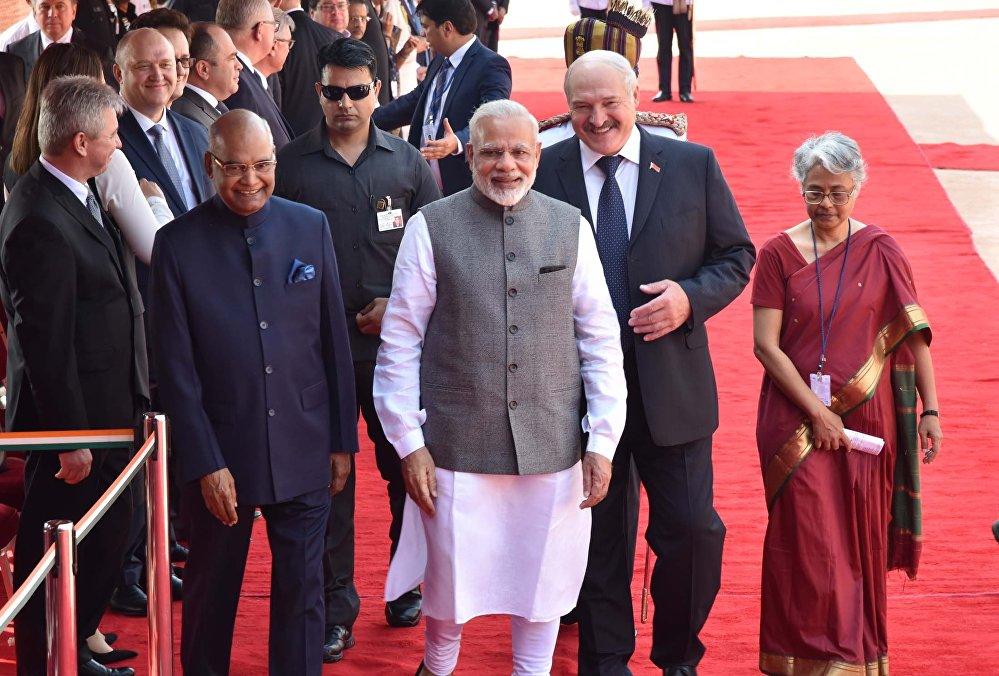 Президент Беларуси Александр Лукашенко, президент Индии Рам Натх Ковинд, премьер-министр Индии Нарендра Моди