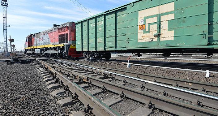 Тепловоз с грузовыми вагонами