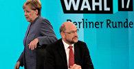 Канцлер Германии Ангела Меркель и лидер СДПГ Мартин Шульц