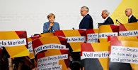 Лидер партии ХДС и канцлер ФРГ Ангела Меркель во время объявления результатов выборов в Бундестаг