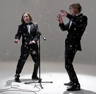 Здымкі кліпу Би-2 на песню Снег кружыцца
