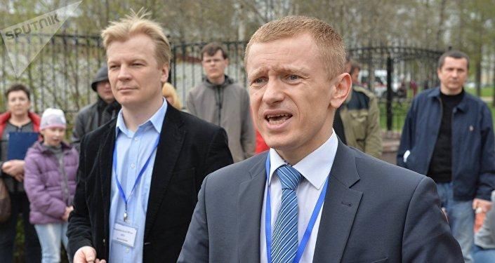 Виталий Рымашевский и Алексей Янукевич на акции Чернобыльский шлях