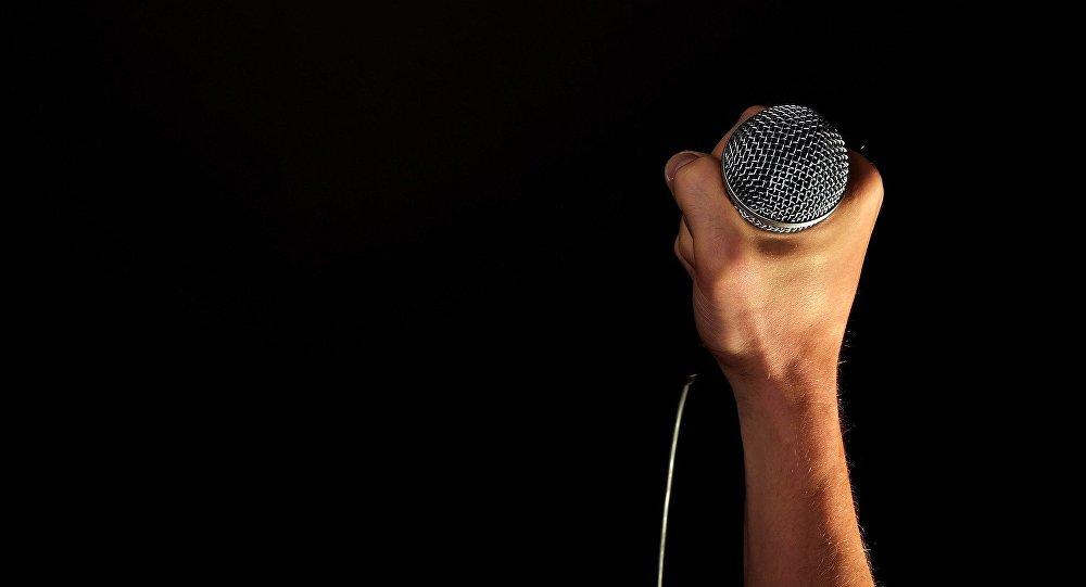 Микрофон в руке, архивное фото