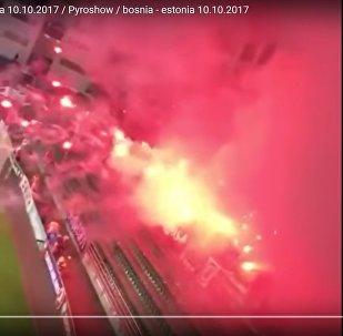 Огненное зрелище устроили фанаты во время матча ЧМ-2018 в Таллинне