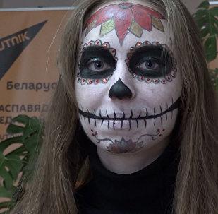 Макияж на Хэллоуин сахарный череп