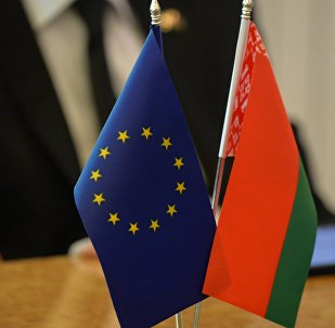 Флажки Республики Беларусь и Европейского союза