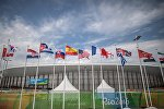 Флаги в Олимпийском парке в Рио