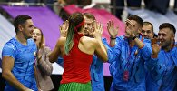 Белорусская теннисистка Арина Соболенко после победы над Слоун Стивенс из США