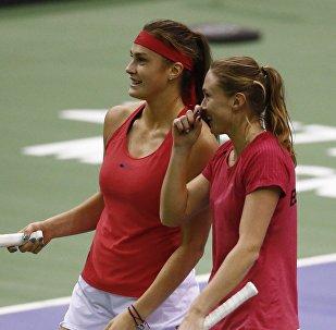 Белорусские теннисистки Арина Соболенко и Александра Саснович