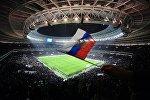 Болельщик на трибуне стадиона Лужники машет флажком во время товарищеского матча между сборными командами России и Аргентины