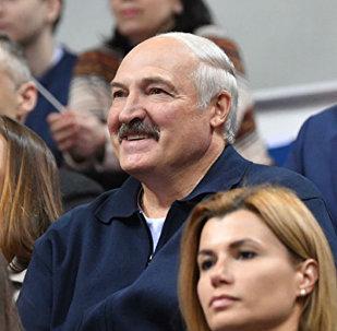 Президент Беларуси Александр Лукашенко на финальном матче Кубка Федерации в Минске