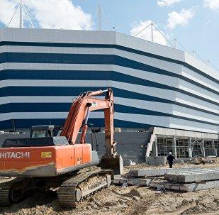Строительство стадиона на острове Октябрьский в Калининграде к чемпионату мира по футболу 2018