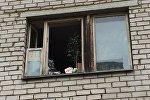 Окна квартиры в Бресте, где случился пожар