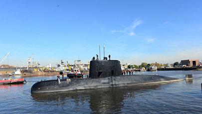 Аргентинская военная подводная лодка ARA San Juan и экипаж в порту Буэнос-Айреса, архивное фото