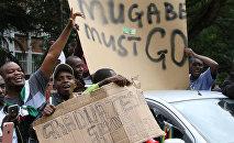 Участники акции против Роберта Мугабе